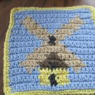 Crochet Windmill dish cloth 100% cotton light blue