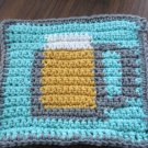 Crochet Beer Mug  dish cloth 100% cotton aqua background