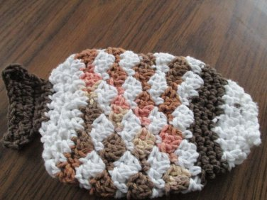 Crochet fish shades of brown dish cloth or bath scrubbie 100% cotton