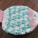 Crochet fish aqua and pink dish cloth or bath scrubbie 100% cotton