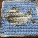 Crochet fish  dish cloth 100% cotton blue background