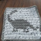 Crochet dinosaur  gray  dish cloth 100% cotton white background