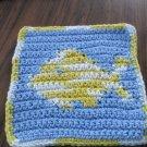 Crochet fish  dish cloth 100% cotton blue background variegated fish