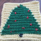 Christmas Crochet Tree dish cloth yellow background