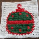 Christmas Crochet ornament dish cloth white background
