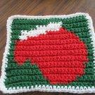 Christmas Crochet mitten dish cloth green background