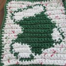 Christmas Crochet sock dish cloth variegated background