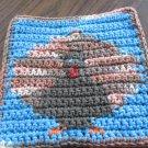 Crochet Thanksgiving turkey dish cloth 100% cotton blue background