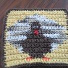 Crochet Thanksgiving turkey dish cloth 100% cotton yellow background