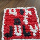 Crochet 4th of July dish cloth 100% cotton red background