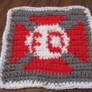 Crochet Fire department gray background dish cloth 100% cotton new