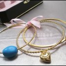 JUICY COUTURE TURQUOISE GEM BANGLE BRACELET SET $88 NIB