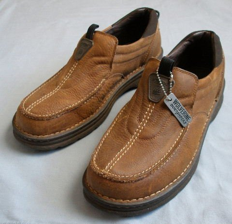 NEW WOLVERINE brown leather shoes loafers 12 EW $FREE US SHIPPING