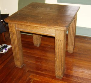 """Mission arts&crafts 32"""" cube table 1/4 sawn oak throughout"""