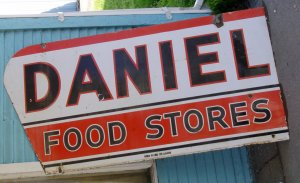 1940s grocery store porcelain store front sign
