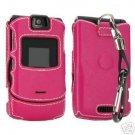 NEW Leather Hard Shell Case For V3 Razr Pink