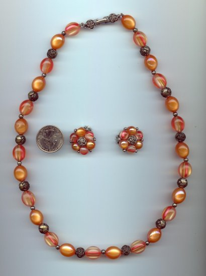 Vintage Orange Roses Bead Necklace Clip Earrings SET