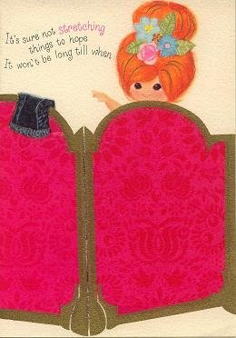Vintage Get Well Card  by Ambassador Cards Pretty Little Red hair woman behind dressing screen
