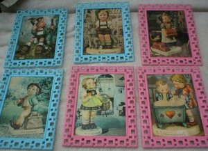 Vintage Set of 6 Hummel cute kids pictures framed