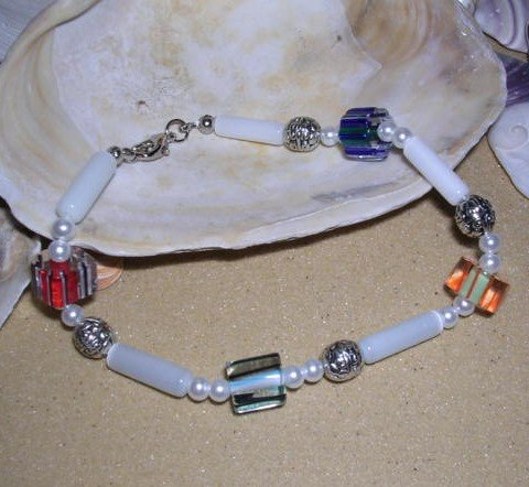Cane Glass Bracelet With Pearls