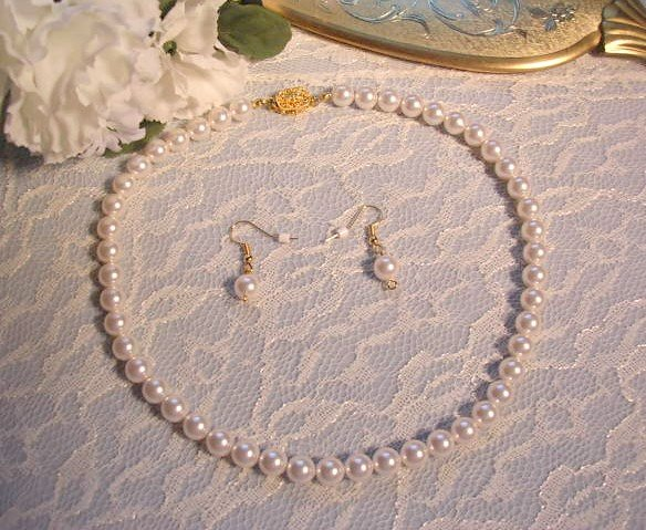 Wedding Necklace Set White Pearl Necklace and Earrings