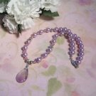 Amethyst Pendant Necklace, Glass Pearls, Swarovski Crystals