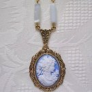 Blue Cameo and White Glass Bead Pendant Necklace Victorian Style