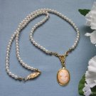 Shell Cameo and Pearl Necklace, White Swarovski Pearls