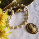 Gemstone Bead and Cameo Necklace