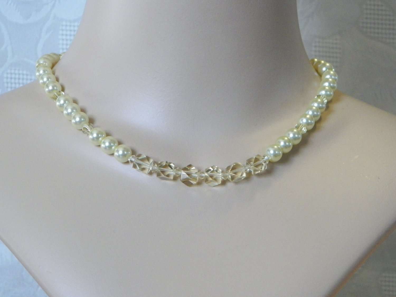 Yellow Pearl and Crystal Necklace, Single Strand Yellow Glass Pearls