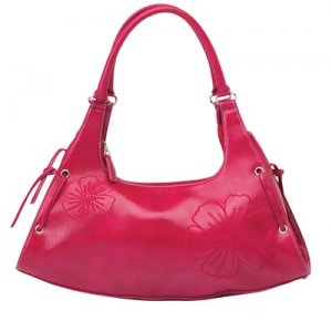 Rose Colored Purse with Floral Embroidery