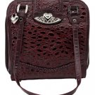 Leather Burgundy Purse with Silver Tone Hearts