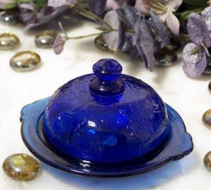 Blue Butter Dish Round