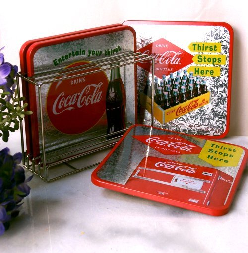 Coke Coca Cola Coaster Set W/ Holder