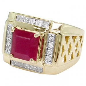 Men's 4.00 ct Ruby & Diamond Gents Ring Solid 14kt Gold