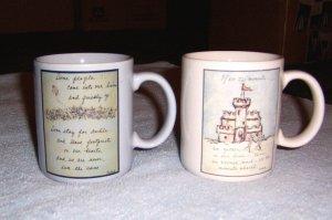 FLAVIA WEEDN 2ea Coffee Cups Hot Chocolate Mugs - Sand Castle , Field of Flowers & Kite