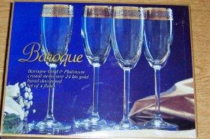 Set of 4 Champagne FLUTES-Baroque Gold & Platinum Crystal Stemware 24 Kts Gold Hand Decorated w/ box