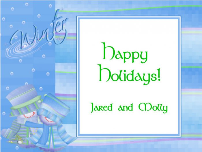 Christmas Cards Snowman Couple  Two PERSONALIZED