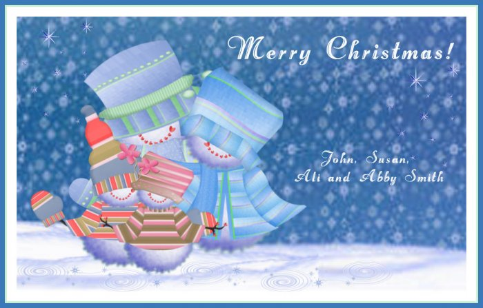 Christmas Cards Snowman Family Four  PERSONALIZED