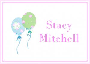 Girl Balloons Pink Flowers PERSONALIZED Note Cards