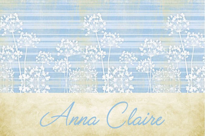 Lt Blue Stripe Flowers Vintage PERSONALIZED Note Cards