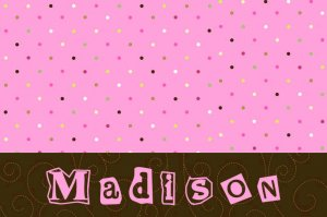 Pink Brown Dots Quilt Scrap PERSONALIZED Note Cards