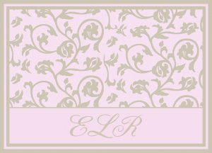 Pink Elegant Pretty Monogrammed PERSONALIZED Note Cards