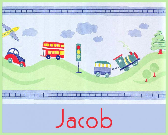 Plane Train Car Boy Blue PERSONALIZED Note Cards