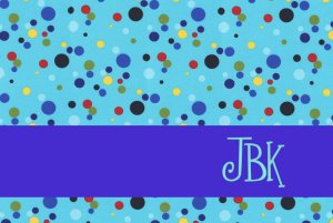 Retro Aqua Dots PERSONALIZED Note Cards Stationery