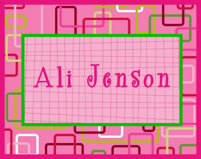Retro Pink Green  PERSONALIZED Note Cards Stationery