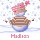 Snowman Christmas Cards Hat Pink Girl  PERSONALIZED
