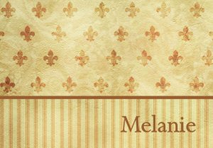 Stripes Fleur de Lis  PERSONALIZED Note Cards