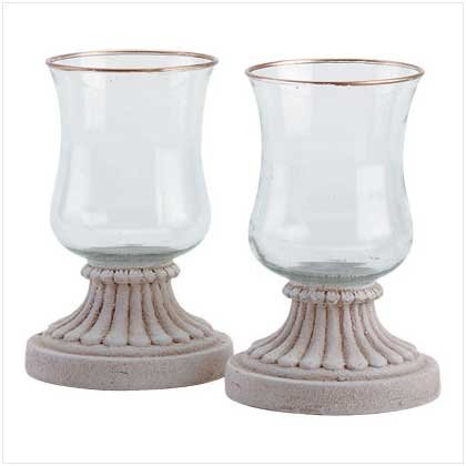 Gold-Edged Hurricane Candle Lamps - 31503