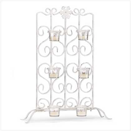 White Iron Candleholder Stand - 37429